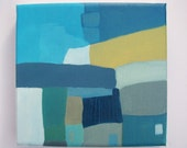 """Abstract Oil Original Landscape. Small Canvas 9.5"""" x 7"""" blues greens. 'Cottages by the Pier'"""