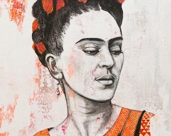 Frida Kahlo acrylic painting on canvas