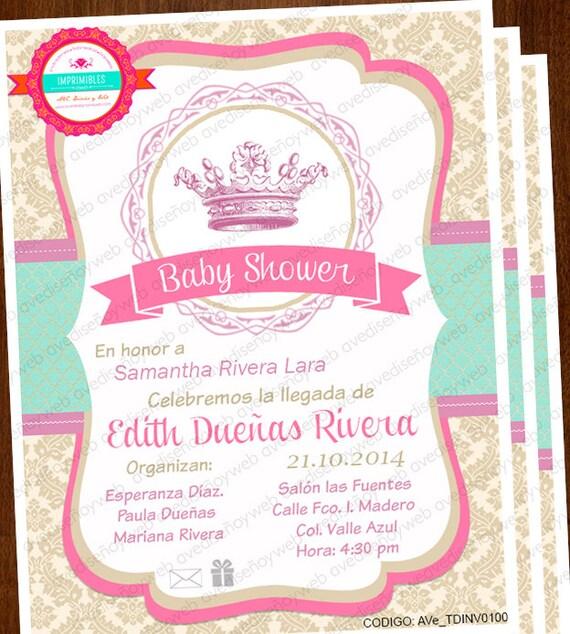 Baby Shower invitaciones de Princesa Baby Shower Princesa
