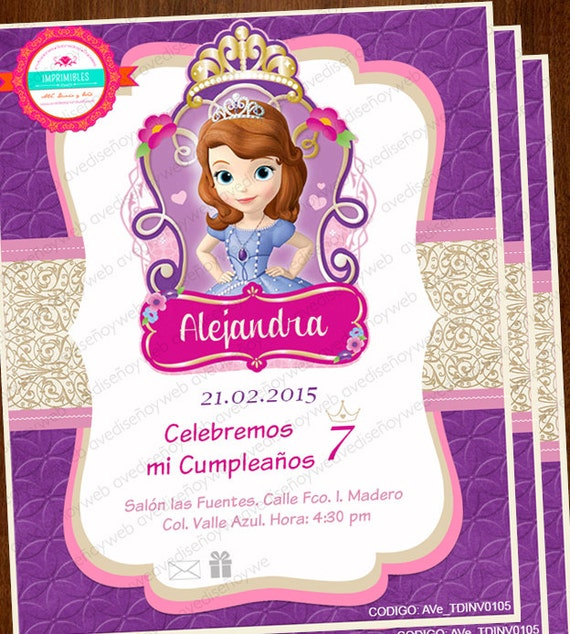 Invitaciones De Sofia the First