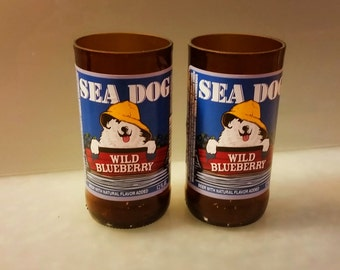 Sea Dog Blueberry Beer Bottle Drinking Glass Set of 2