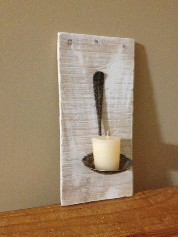 Wall Candle Sconces Etsy : Spoon Candle Wall Sconce with Pallet Wood