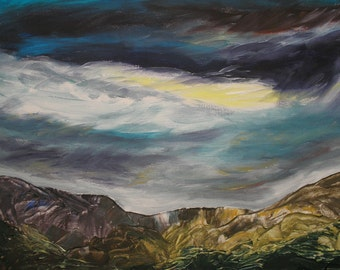 original acrylic landscape painting on canvas with free postage