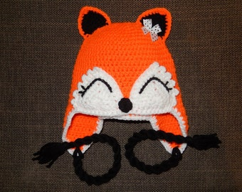 crochet hat fox