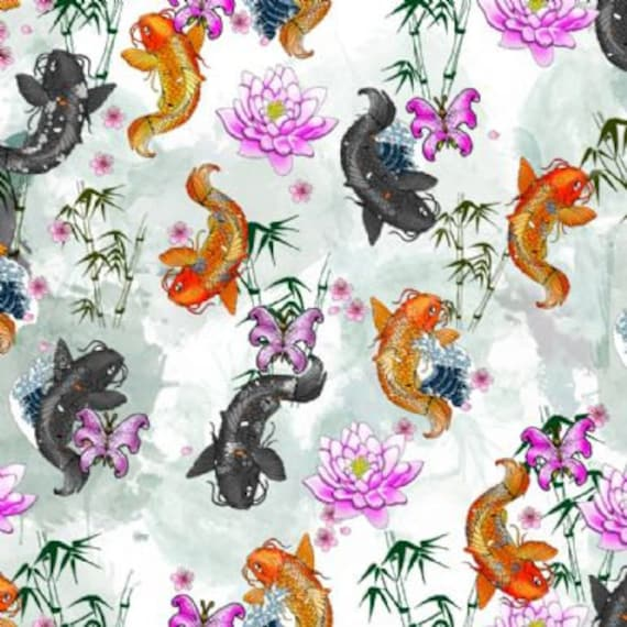koi carp fish design fabric 2 way stretch lycra spandex satin chiffon jersey voile. Black Bedroom Furniture Sets. Home Design Ideas