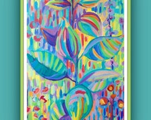 Abstract floral art print, limited edition A4 wall art, home or office wall decor, colorful abstract picture