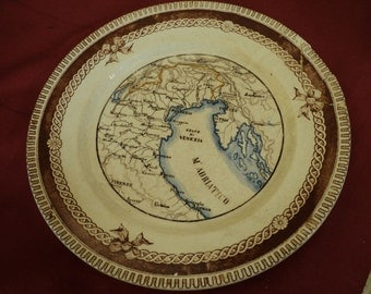 Antique plate with map