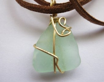 Aqua sea glass necklace or bracelet wrapped in gold wire, beach glass necklace or bracelet