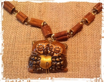 Wood necklace with owls in love. Wooden OWL necklace.