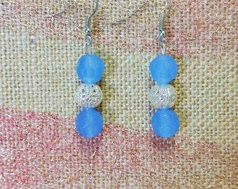 Gorgeous Blue & Silver Dangling Earrings