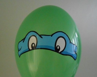 6 Printed TMNT Masks, Birthday Party Stickers, teenage mutant ninja turtles masks, eyes for balloons, for pizza boxes