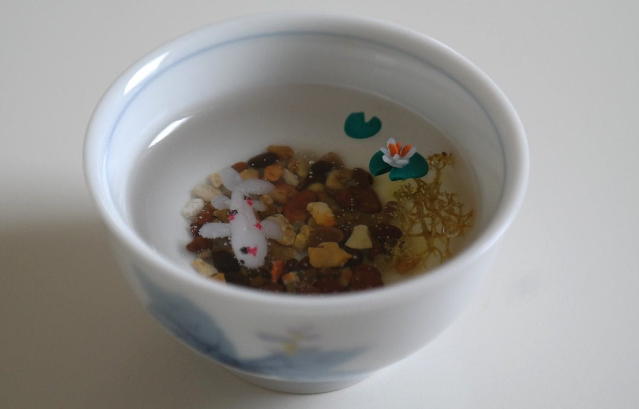 Miniature polymer clay resin koi fish pond in a cup for Resin koi fish