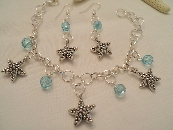 aquamarine starfish charm bracelet by treasureislegiftshop