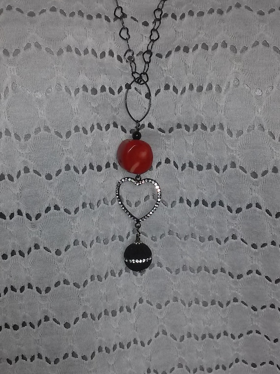 Black Onyx and Hawaiian Red Coral with lava rock on by LPSwirl