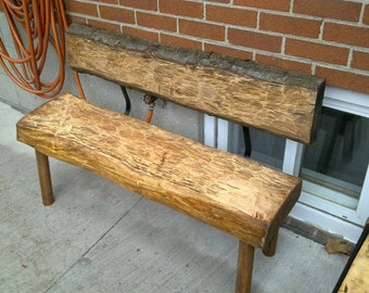 Hand Hewn Outdoor Bench with Backrest