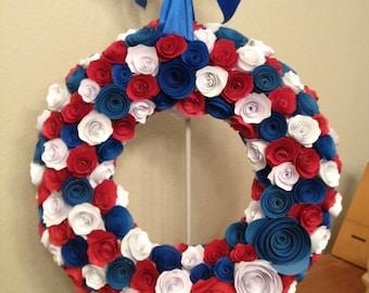 Paper flowers/Patriotic paper Wreath/Red paper flowers/White paper flowers/Blue paper flowers / white and blue paper flower wreath