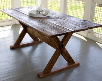 Reclaimed Wood Trestle Table (X-Leg)