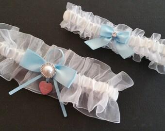 Sheer organza garter set, Lt. blue satin, Pearl Rhinestone, Personalized garter, Wedding garter, Bridal garter, Prom garter, Custom garter