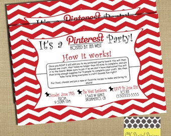 Pinterest Party Invitation // Craft Party Invitation // Red and Black Invitation