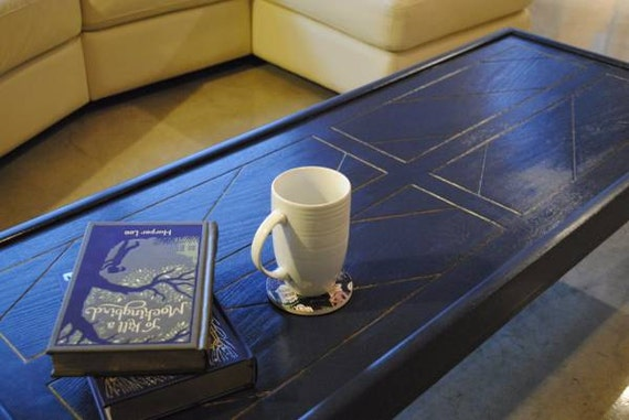 navy blue art deco inspired coffee table with gold accents local only