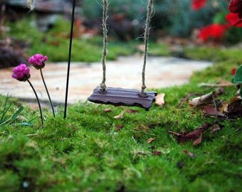 Fairy Swing. Fairy Garden Collection. Whimsical. Outdoor Fairy Gardens. Ceramic Swing