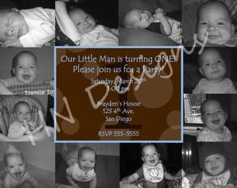 First Birthday Photo Collage Boy Invitation