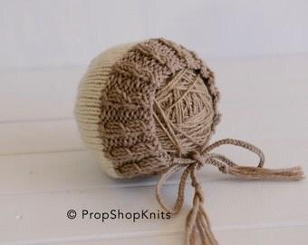 Newborn bonnet, cable bonnet