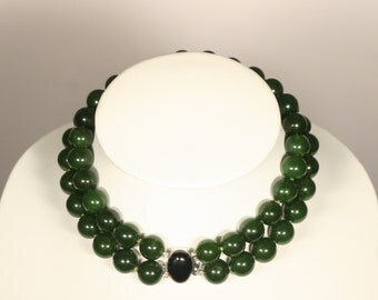 Green jade necklace two rows and 925 sterling silver