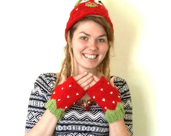 Strawberry mittens. Hand knitted red and green fingerless gloves/mittens