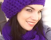 amethyst, purple, slouchy hat, infinity scarf, slouchy hats, crochet hat, worsted, smoke free home, fashion accessories, womens hats, gift