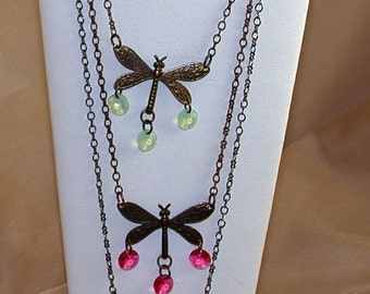 Filigree Dragonfly Necklace w/Swarovski Dangles