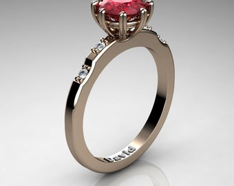 Classic 14K Rose Gold 1 Carat Ruby Diamond Solitaire Engagement Ring R1005-14KRGDR