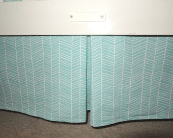 Herringbone Aqua Crib Skirt with Pleat