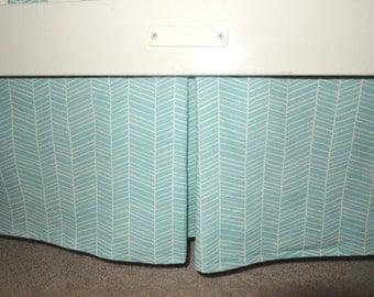 Herringbone Aqua Crib Skirt with Pleat