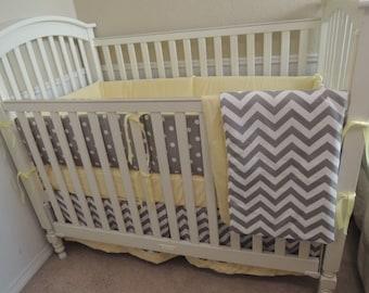 Yellow and Gray Chevron Baby Bedding Set