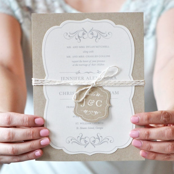 Cheap Rustic Wedding Invitation Kits: Rustic Wedding Invitations Romantic Wedding Invitation