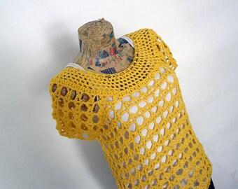 Yellow Crochet Top L, Crochet Vest, Crochet Tshirt, Crochet L, Boho Crochet Top, Summer Top, Beach Coverup, Beachwear, Crochet Festival Top