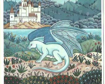 Dragon and castle. Fine art card
