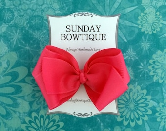 Hot Pink Hair Bow, Pink Boutique Bow, Pink Hair Bow, Pink Hairbow, Hot Pink Hair Clip, Pink Hair Clip, Hair Bow, Hairbow, Boutique Bow