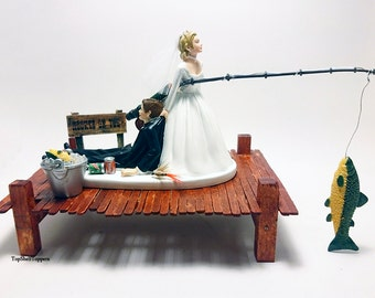 FISHING Funny Wedding Cake Topper Bride and Groom Custom