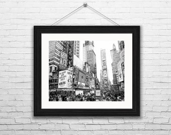 Sketches of New York City,  Instant Download, Times Square in New York City, Black and White Sketches, Wall Art, Modern Art,