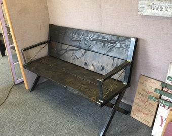 Rustic industrial bench