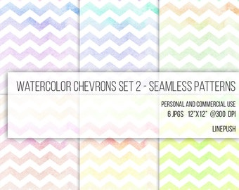 SALE! Stained Watercolor Papers. Seamless pastel chevron patterns, digital paper, watercolors, background papers ombre, geometric, scrapbook