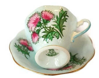 "E. B. Foley ""Glengarry Thistle"" footed tea cup - made of fine bone china in England"