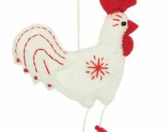 Fair Trade Handmade White Snowflake Rooster Christmas Ornament