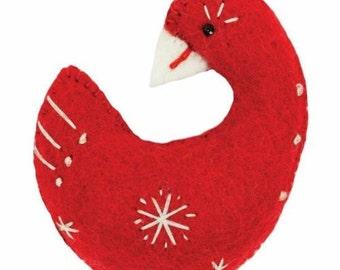 Fair Trade Handmade Red Snowflake Goose Christmas Tree Ornament