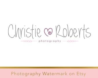 Instant download logo - pre-made Logo Design - Photography Watermark - Watermark Design - Heart Logo - Whimsical Logo - Photography Logo 25