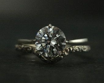 Elegant Filigree Engagement Ring and Wedding Band--Sterling Silver Bridal Set--Vintage Style Ring--Antique Style Engagement Ring