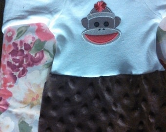 Sock Monkey Baby Gown with baby cap