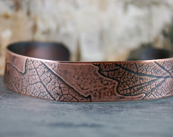 Real Oak Leaf Imprint Cuff